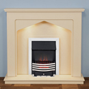 Harrier Fireplaces Ursa Chrome Freestanding Electric Fireplace Suite