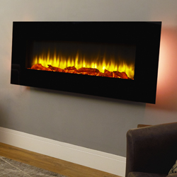 Signature Fireplaces Georgia Black Hang on the Wall Electric Fire