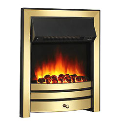 Signature Fireplaces Houston Brass Inset Electric Fire