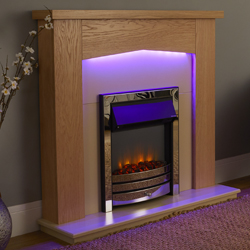Signature Fireplaces Traverse Chrome Freestanding Electric Suite
